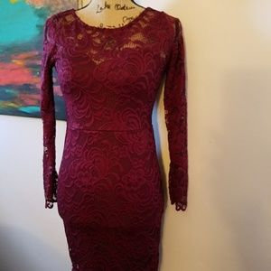F21 Red Long Sleeve Lace Dress